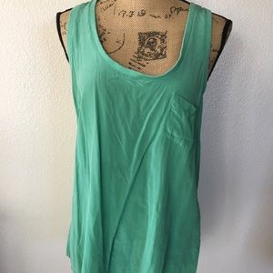 Joie green silk razon back tank top